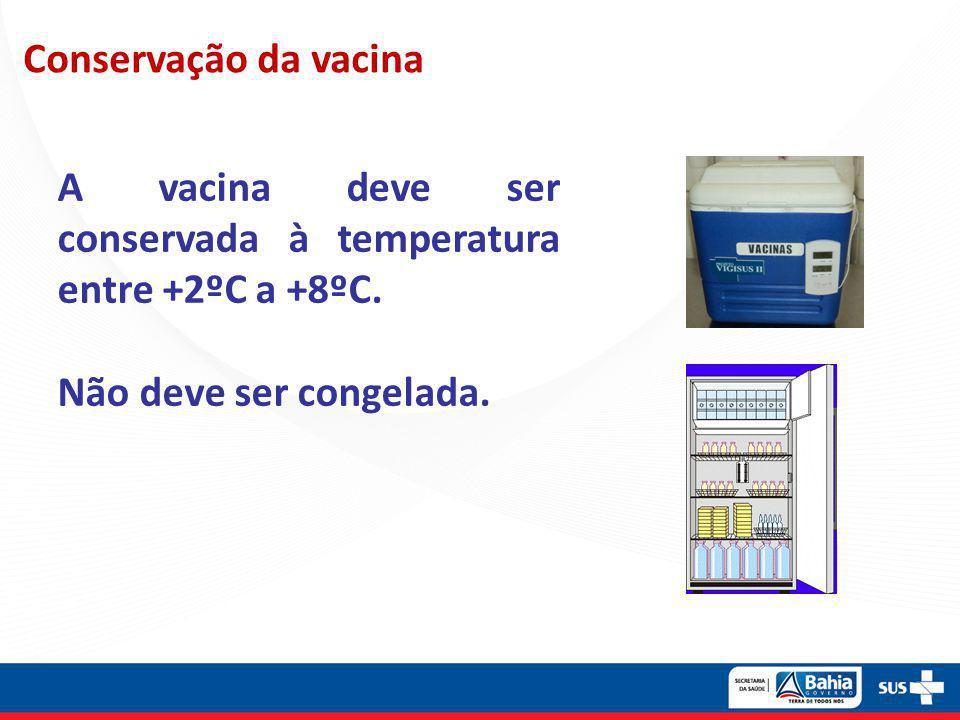 Conservação da vacina A vacina deve ser conservada à temperatura entre +2ºC a +8ºC.