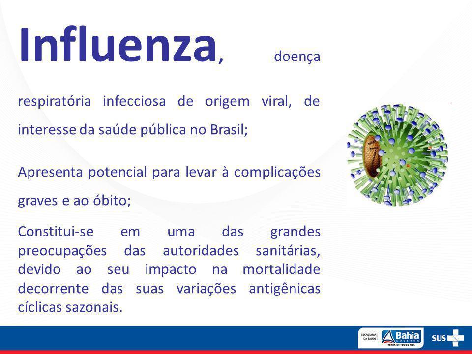Influenza, doença respiratória infecciosa de origem viral, de interesse da saúde pública no Brasil;
