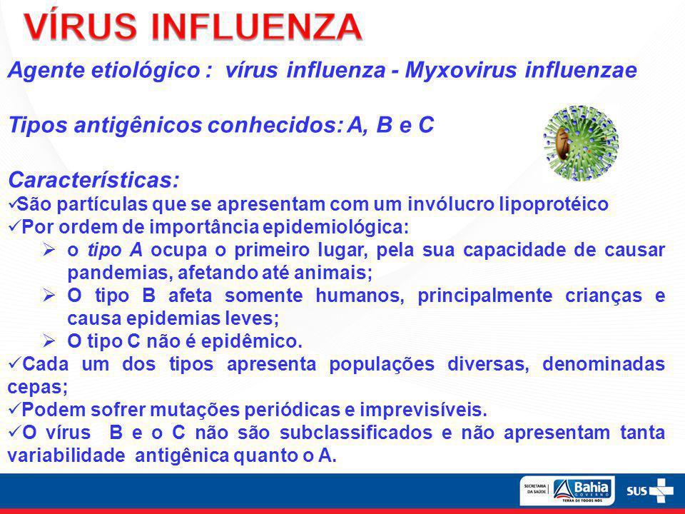 VÍRUS INFLUENZA Agente etiológico : vírus influenza - Myxovirus influenzae. Tipos antigênicos conhecidos: A, B e C.
