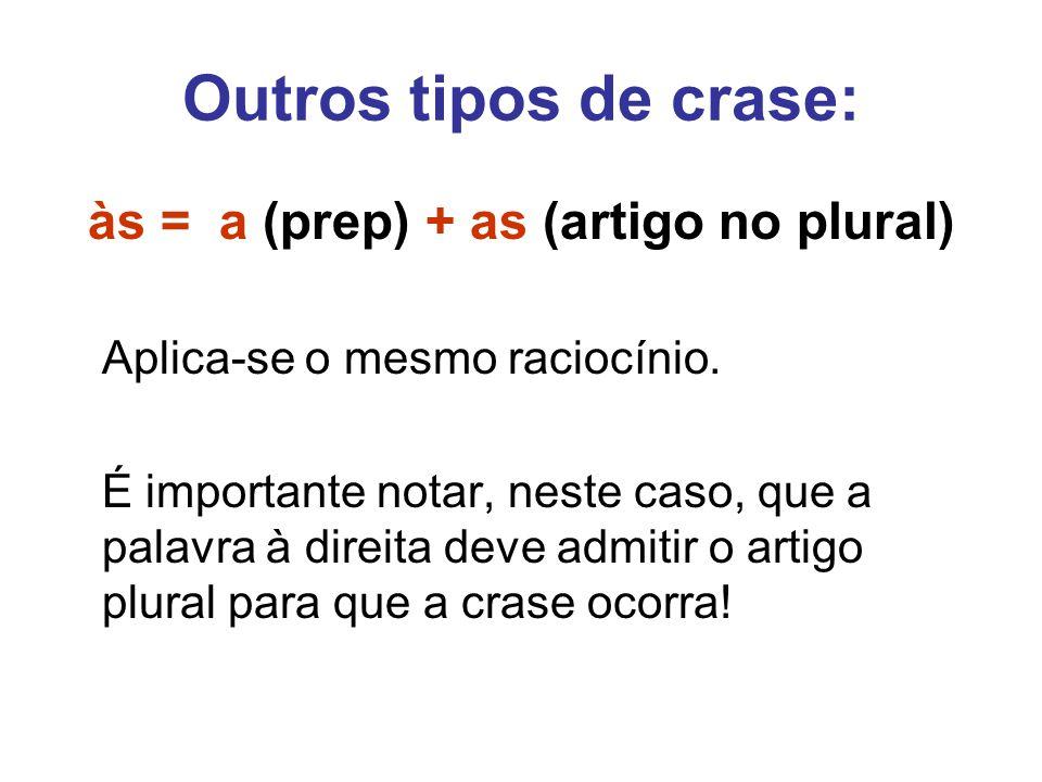 às = a (prep) + as (artigo no plural)