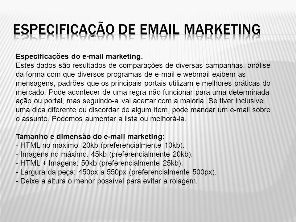 Especificação de email marketing