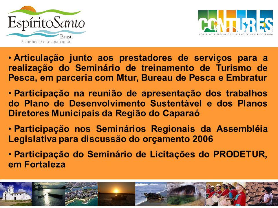 Articulação junto aos prestadores de serviços para a realização do Seminário de treinamento de Turismo de Pesca, em parceria com Mtur, Bureau de Pesca e Embratur