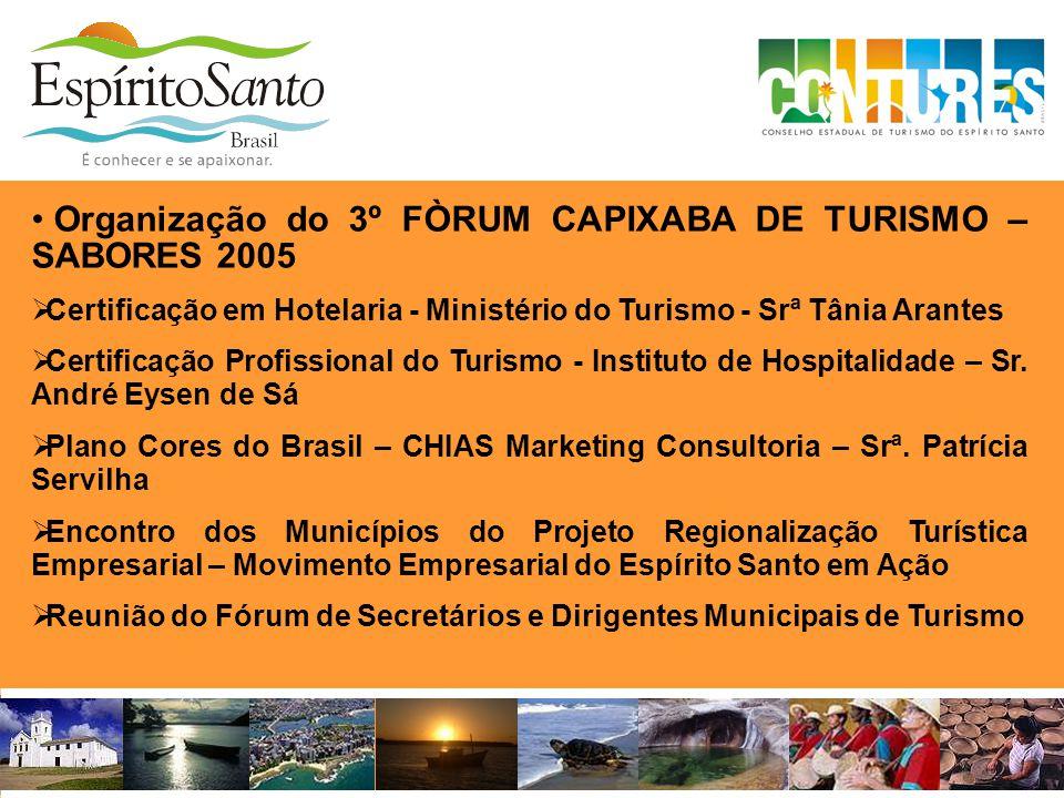 Organização do 3º FÒRUM CAPIXABA DE TURISMO – SABORES 2005