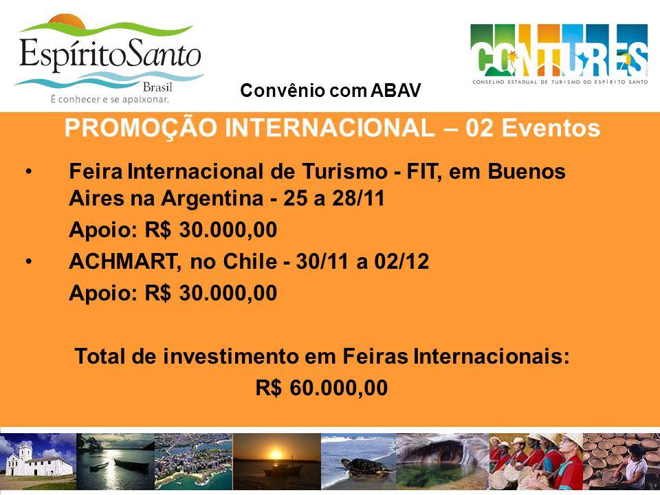 PROMOÇÃO INTERNACIONAL – 02 Eventos