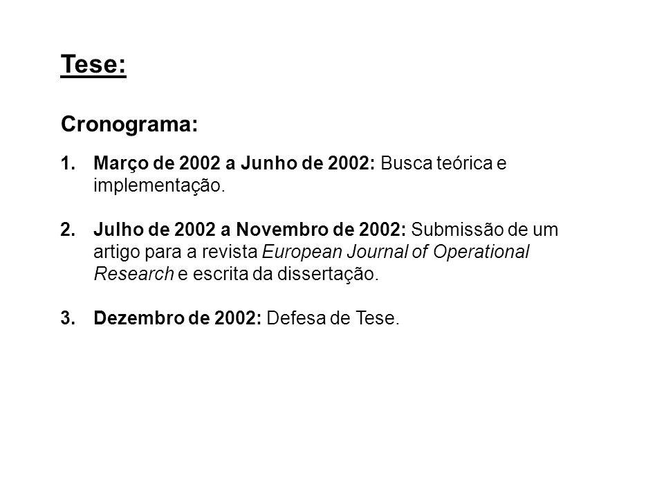 Tese: Cronograma: Março de 2002 a Junho de 2002: Busca teórica e implementação.