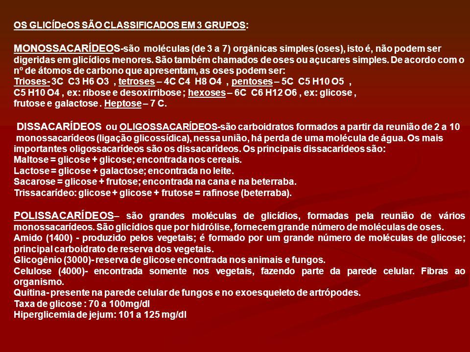 OS GLICÍDeOS SÃO CLASSIFICADOS EM 3 GRUPOS:
