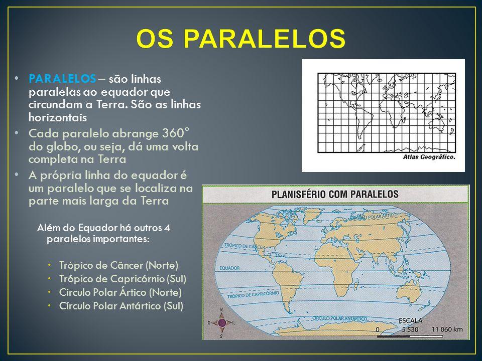 OS PARALELOS PARALELOS – são linhas paralelas ao equador que circundam a Terra. São as linhas horizontais.