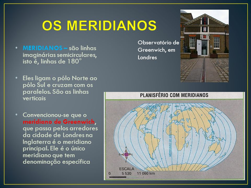 OS MERIDIANOS Observatório de Greenwich, em Londres. MERIDIANOS – são linhas imaginárias semicirculares, isto é, linhas de 180°