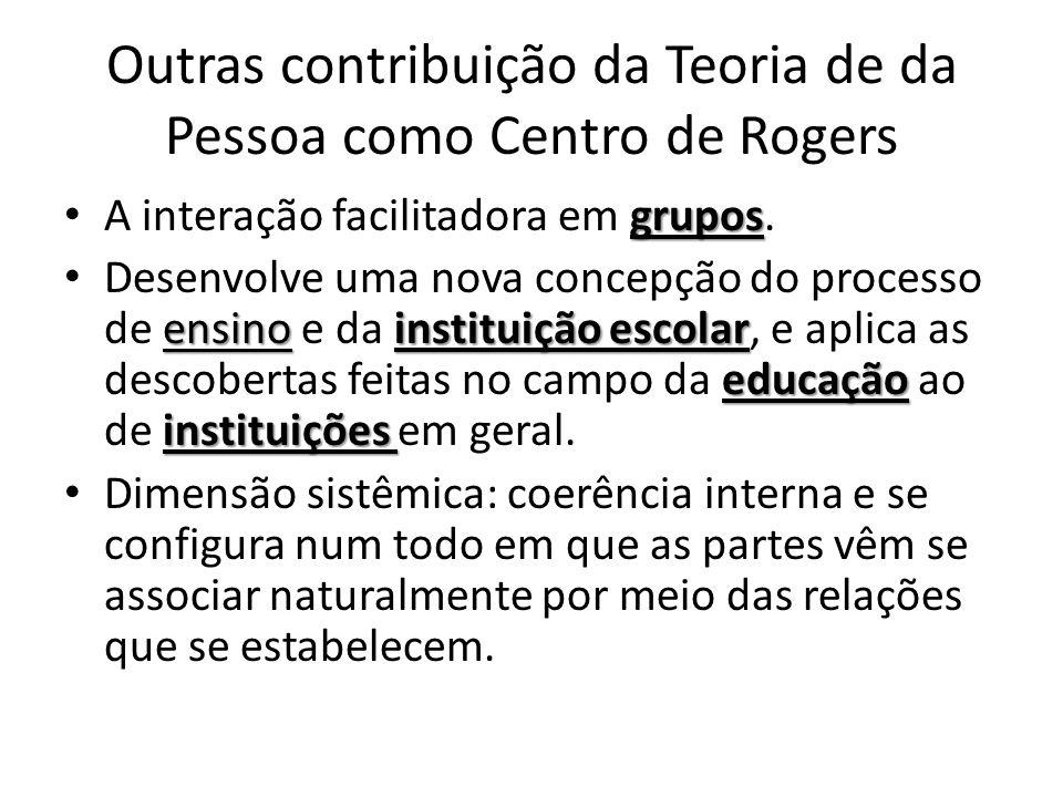 Outras contribuição da Teoria de da Pessoa como Centro de Rogers
