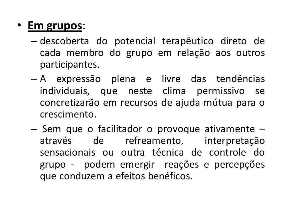 Em grupos: descoberta do potencial terapêutico direto de cada membro do grupo em relação aos outros participantes.