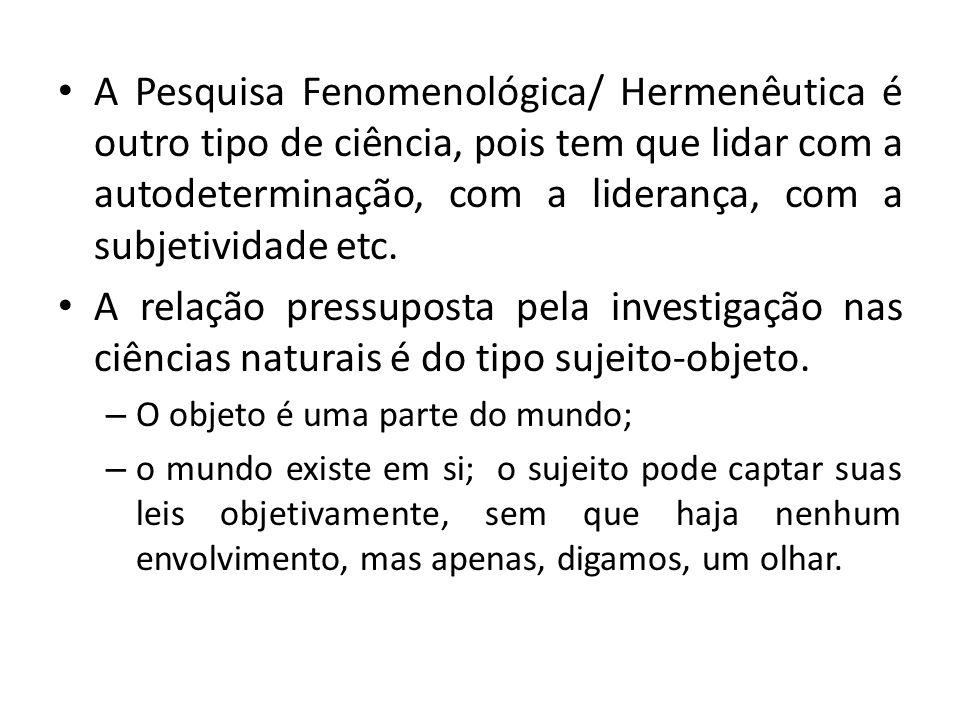 A Pesquisa Fenomenológica/ Hermenêutica é outro tipo de ciência, pois tem que lidar com a autodeterminação, com a liderança, com a subjetividade etc.