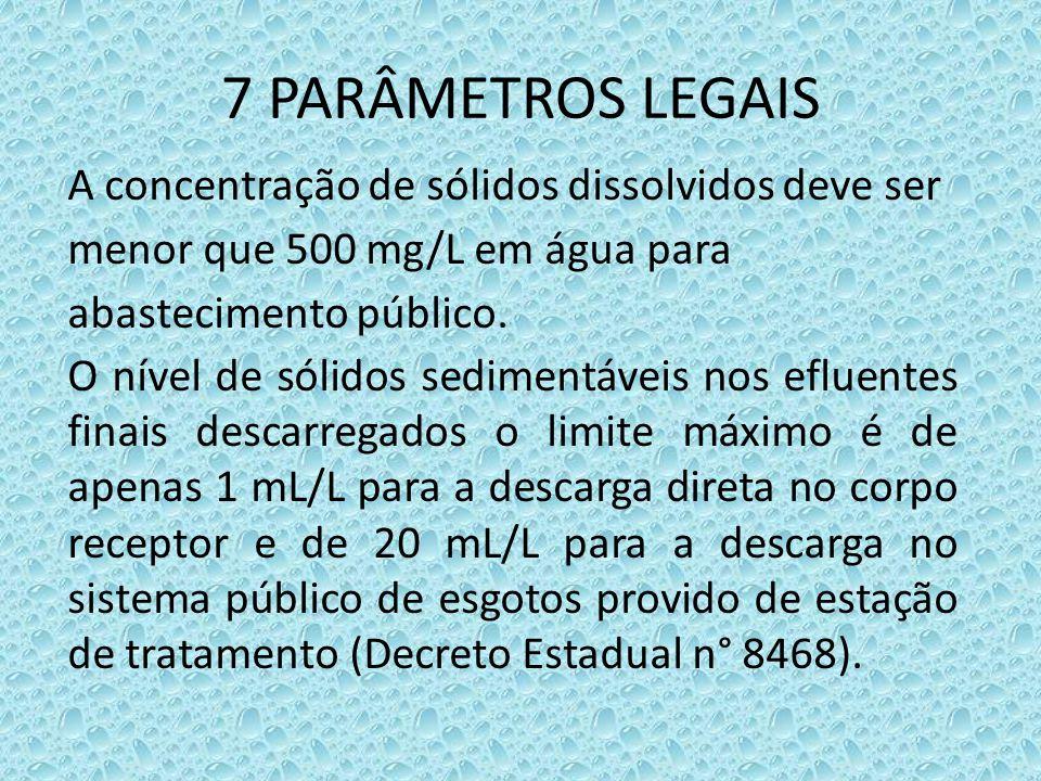 7 PARÂMETROS LEGAIS A concentração de sólidos dissolvidos deve ser menor que 500 mg/L em água para abastecimento público.