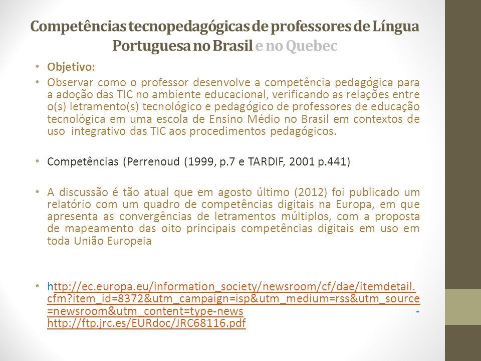 Competências tecnopedagógicas de professores de Língua Portuguesa no Brasil e no Quebec