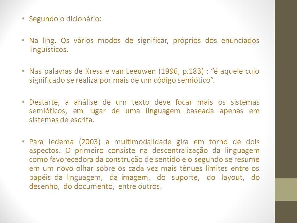 Segundo o dicionário: Na ling. Os vários modos de significar, próprios dos enunciados linguísticos.