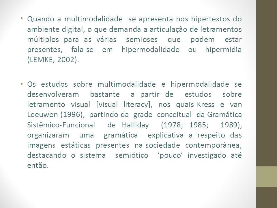 Quando a multimodalidade se apresenta nos hipertextos do ambiente digital, o que demanda a articulação de letramentos múltiplos para as várias semioses que podem estar presentes, fala-se em hipermodalidade ou hipermídia (LEMKE, 2002).