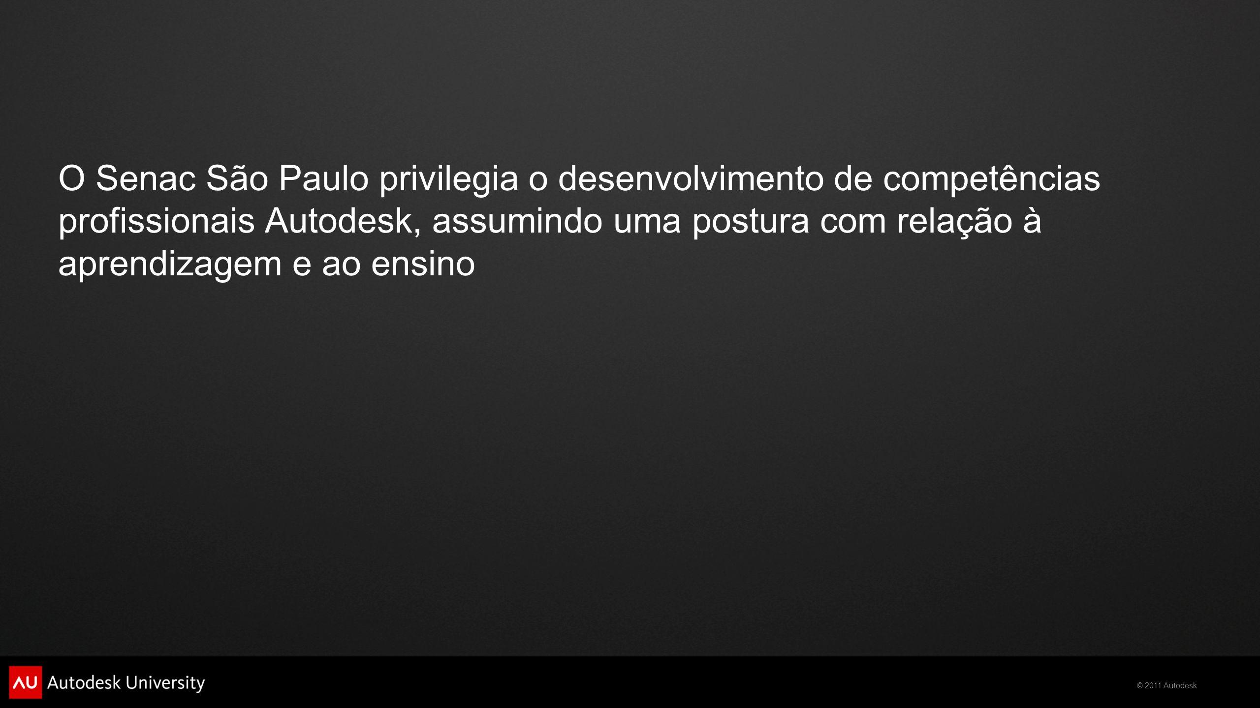 O Senac São Paulo privilegia o desenvolvimento de competências profissionais Autodesk, assumindo uma postura com relação à aprendizagem e ao ensino