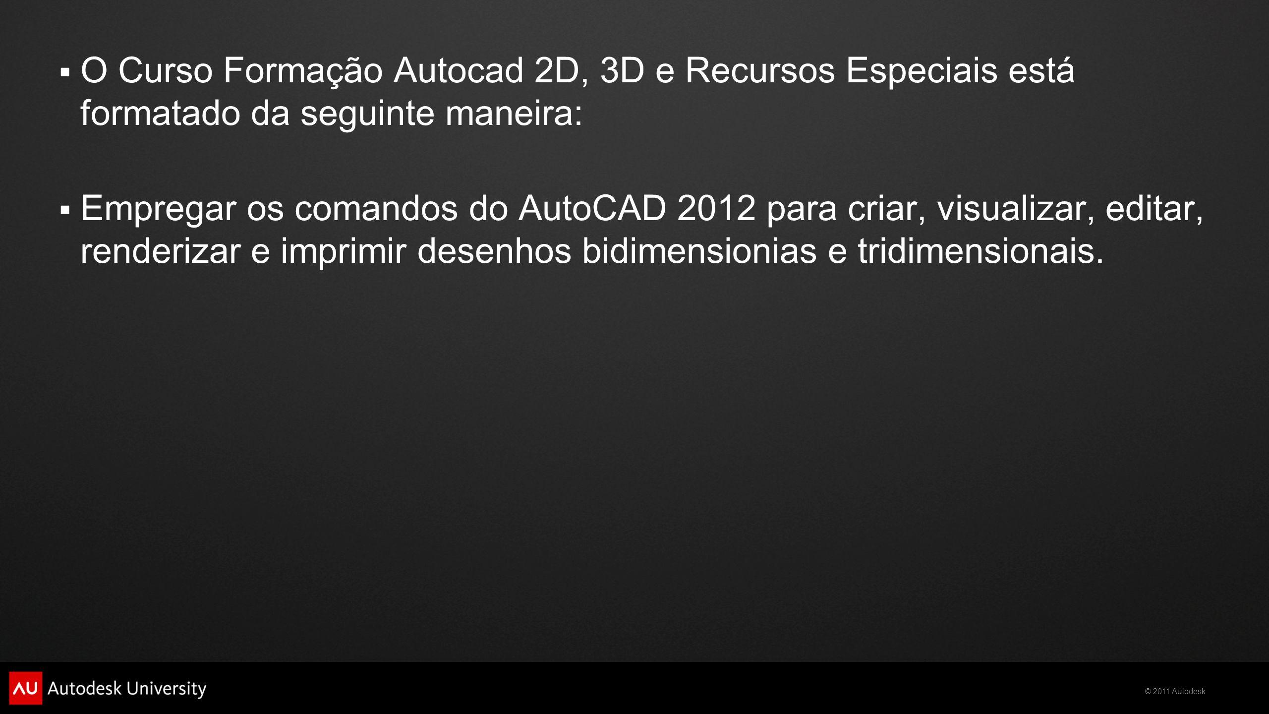 O Curso Formação Autocad 2D, 3D e Recursos Especiais está formatado da seguinte maneira: