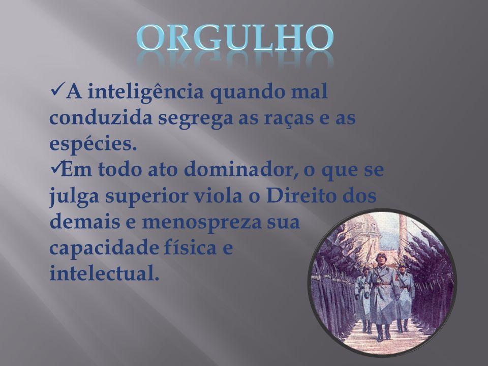 ORGULHO A inteligência quando mal conduzida segrega as raças e as espécies.