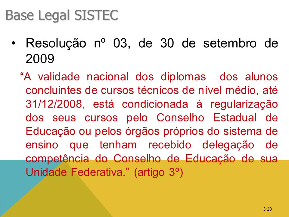 Base Legal SISTEC Resolução nº 03, de 30 de setembro de 2009