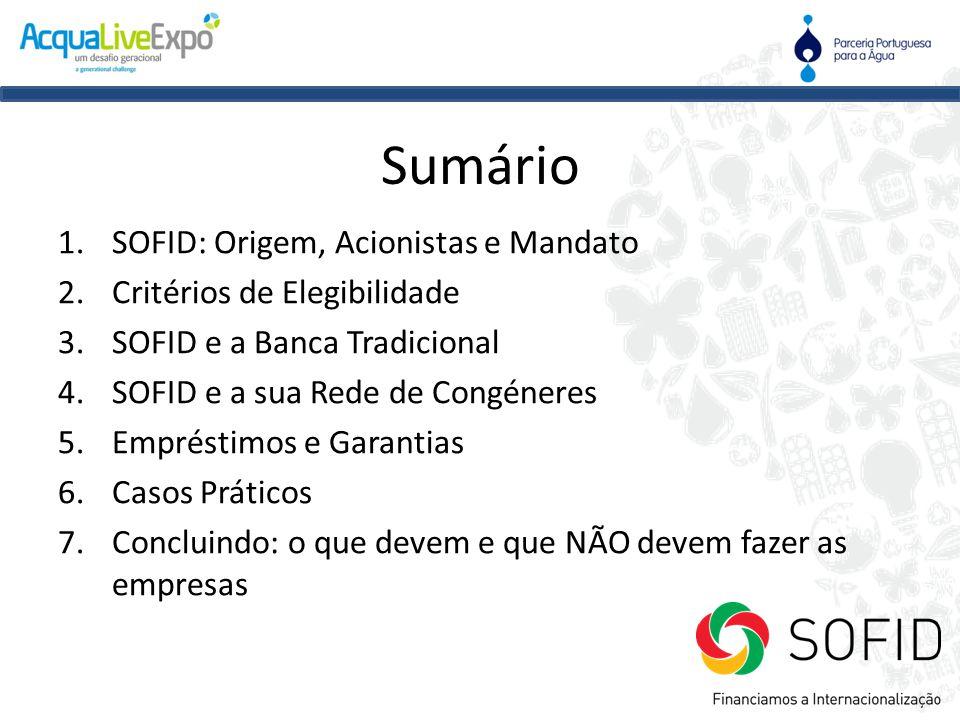 Sumário SOFID: Origem, Acionistas e Mandato Critérios de Elegibilidade