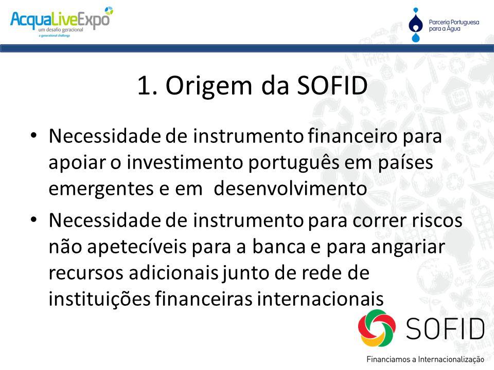 1. Origem da SOFID Necessidade de instrumento financeiro para apoiar o investimento português em países emergentes e em desenvolvimento.