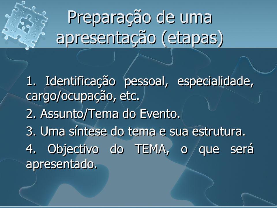 Preparação de uma apresentação (etapas)