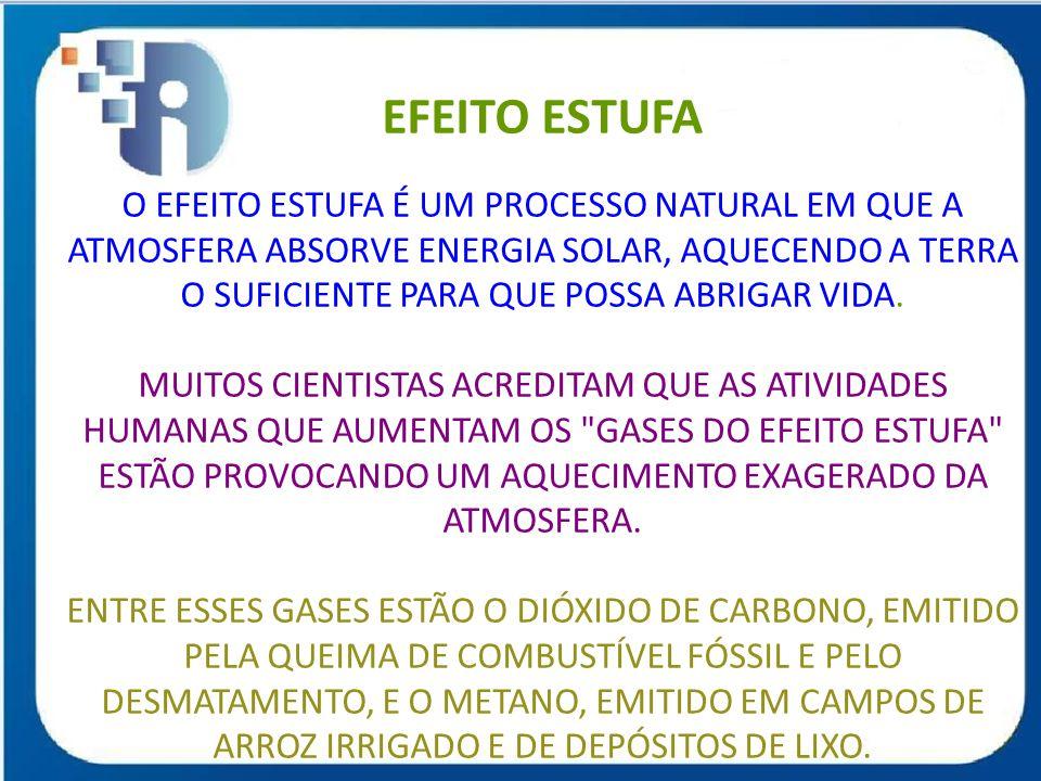 EFEITO ESTUFA O EFEITO ESTUFA É UM PROCESSO NATURAL EM QUE A ATMOSFERA ABSORVE ENERGIA SOLAR, AQUECENDO A TERRA O SUFICIENTE PARA QUE POSSA ABRIGAR VIDA.