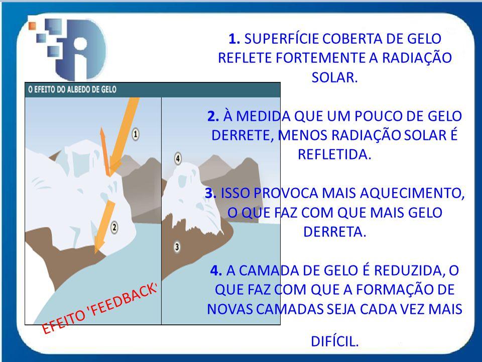 1. SUPERFÍCIE COBERTA DE GELO REFLETE FORTEMENTE A RADIAÇÃO SOLAR. 2