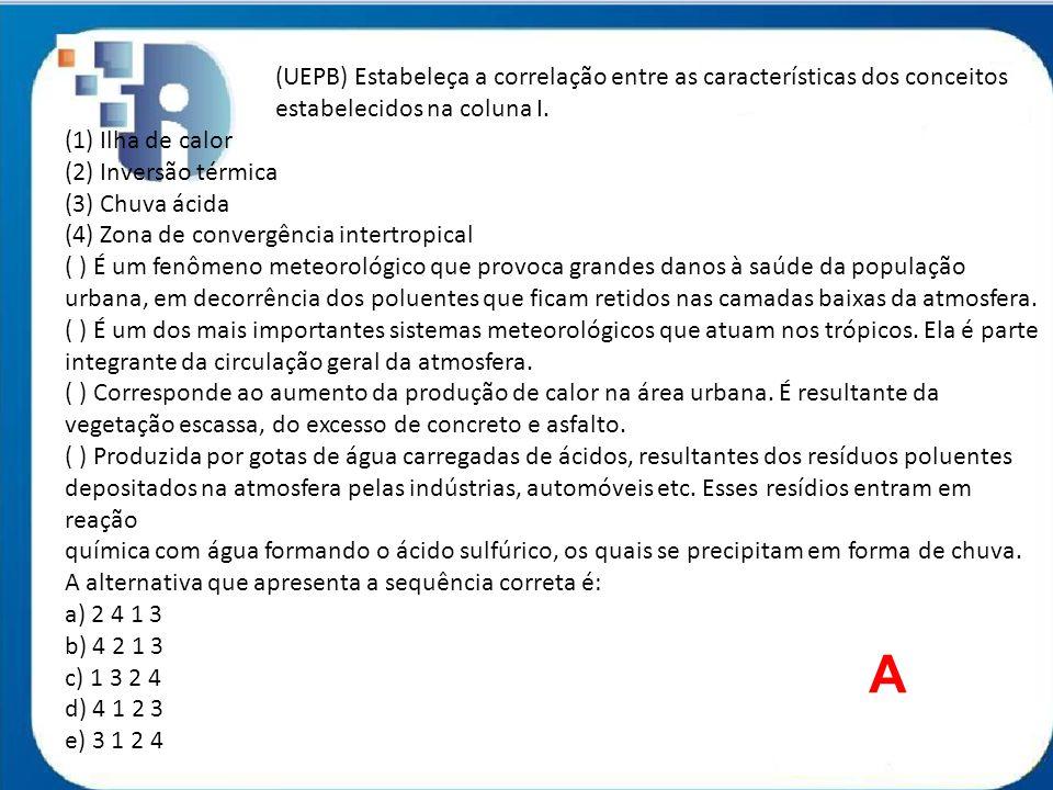 (UEPB) Estabeleça a correlação entre as características dos conceitos