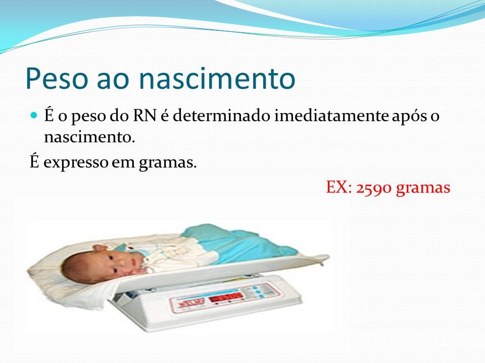Peso ao nascimento É o peso do RN é determinado imediatamente após o nascimento. É expresso em gramas.