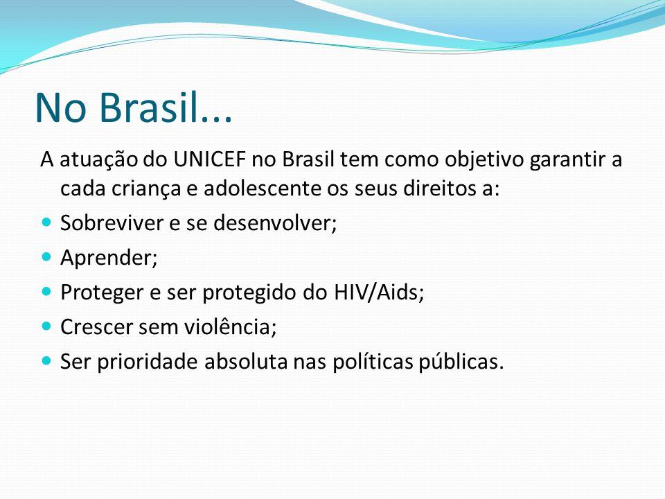 No Brasil... A atuação do UNICEF no Brasil tem como objetivo garantir a cada criança e adolescente os seus direitos a: