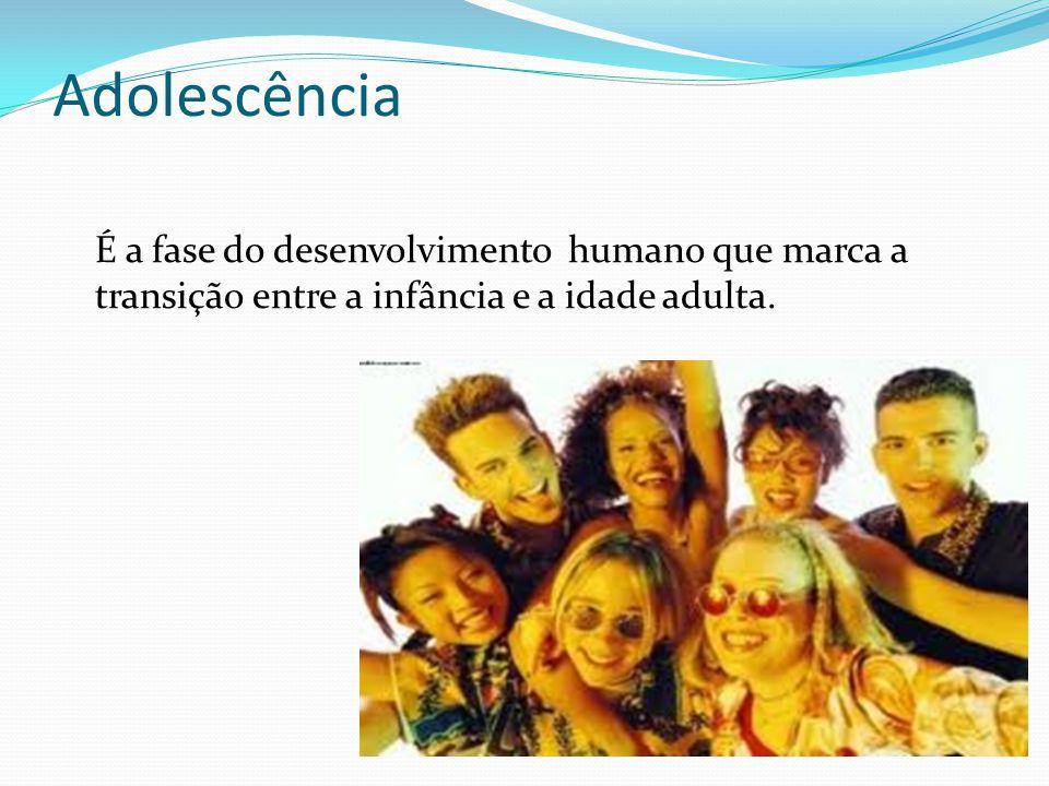Adolescência É a fase do desenvolvimento humano que marca a transição entre a infância e a idade adulta.