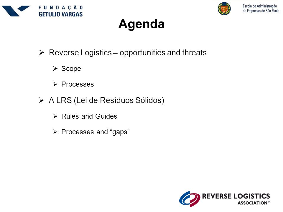 Agenda Reverse Logistics – opportunities and threats
