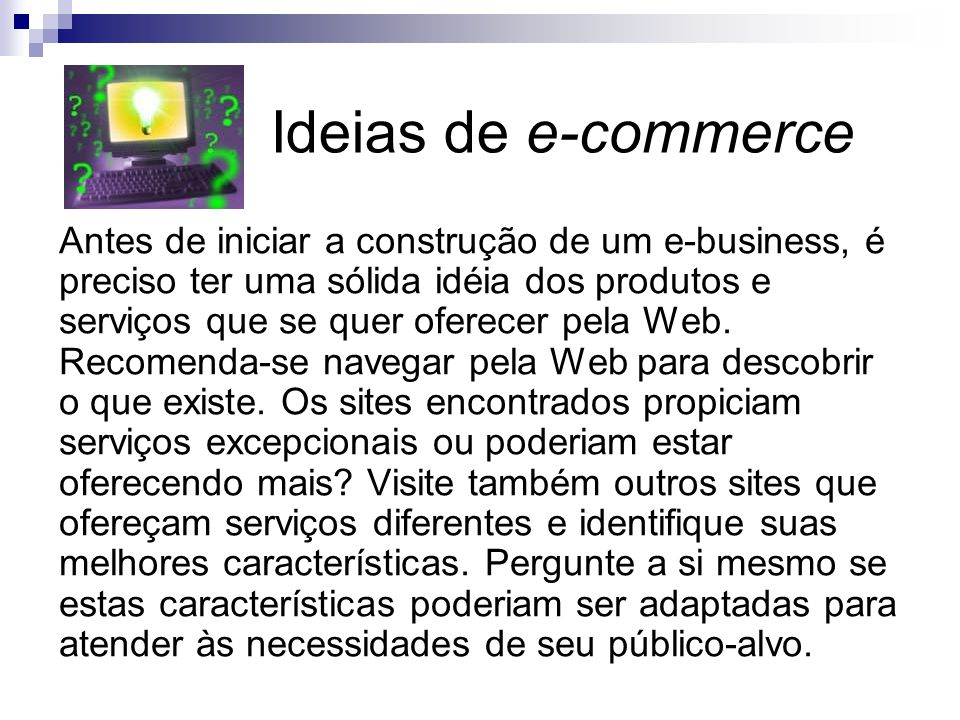 Ideias de e-commerce