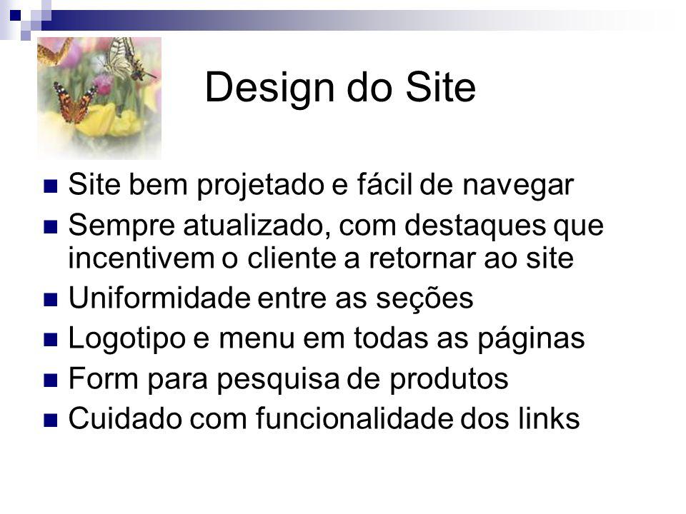 Design do Site Site bem projetado e fácil de navegar