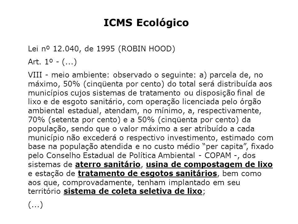 ICMS Ecológico Lei nº 12.040, de 1995 (ROBIN HOOD) Art. 1º - (...)
