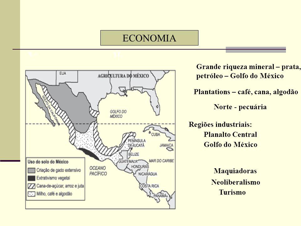 ECONOMIA Grande riqueza mineral – prata, petróleo – Golfo do México