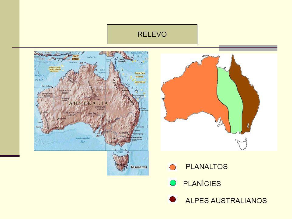RELEVO PLANALTOS PLANÍCIES ALPES AUSTRALIANOS