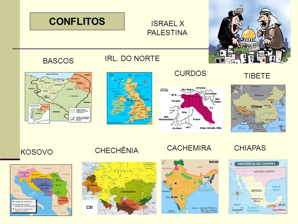 CONFLITOS ISRAEL X PALESTINA IRL. DO NORTE BASCOS CURDOS TIBETE