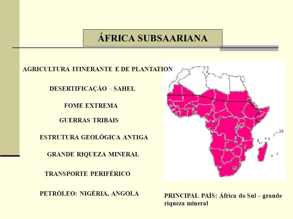 ÁFRICA SUBSAARIANA AGRICULTURA ITINERANTE E DE PLANTATION