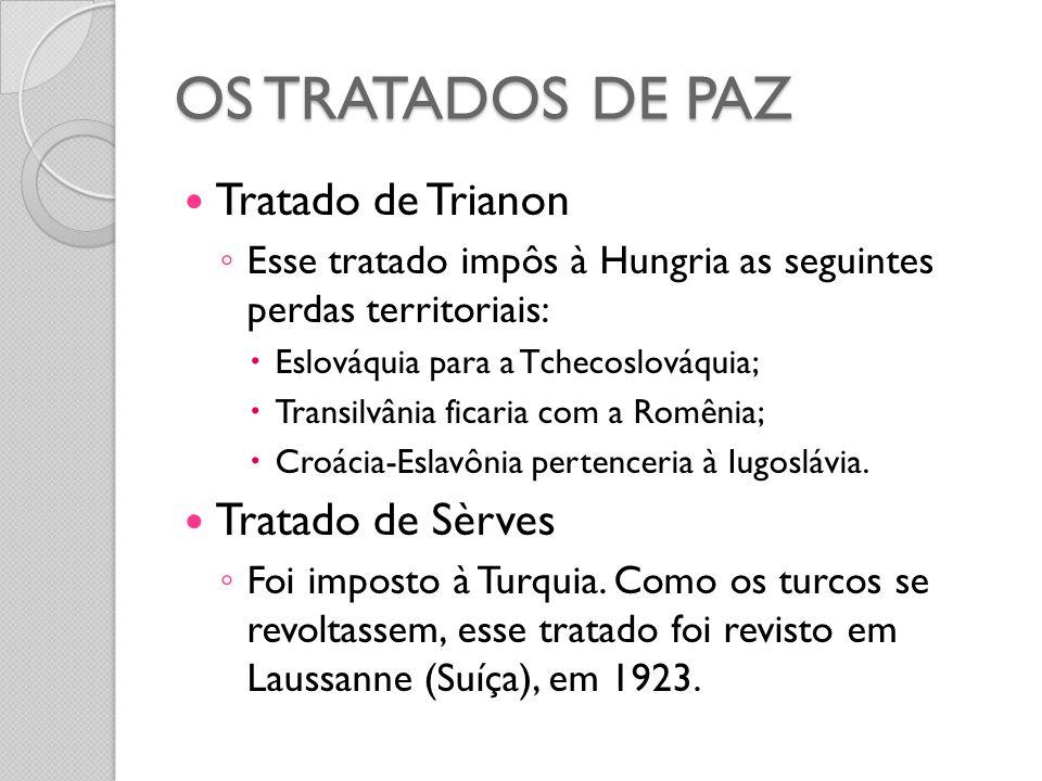 OS TRATADOS DE PAZ Tratado de Trianon Tratado de Sèrves