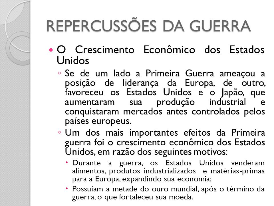 REPERCUSSÕES DA GUERRA