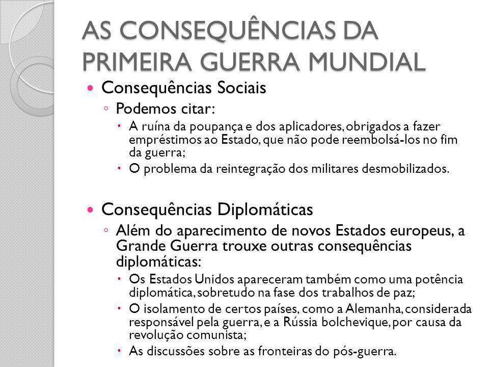 AS CONSEQUÊNCIAS DA PRIMEIRA GUERRA MUNDIAL
