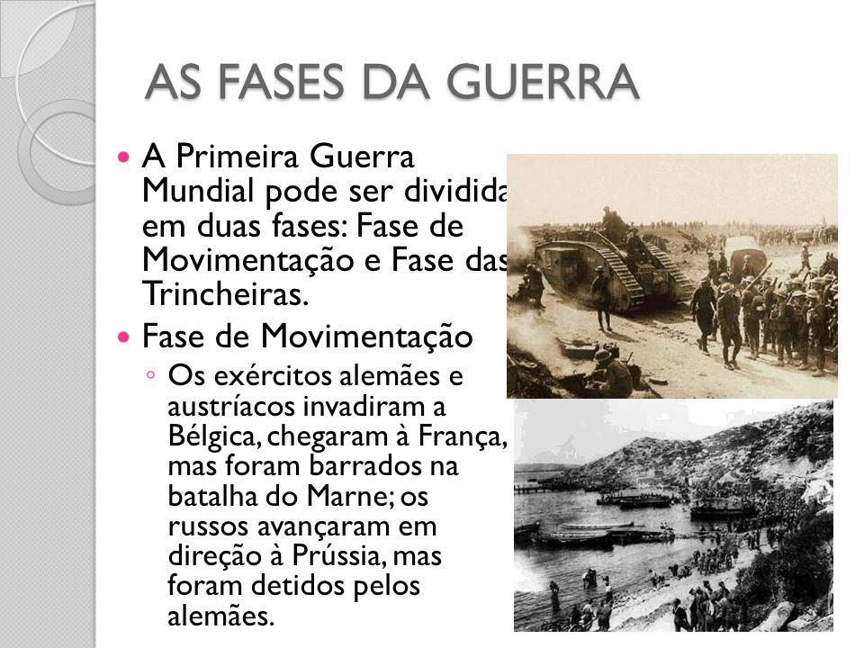 AS FASES DA GUERRA A Primeira Guerra Mundial pode ser dividida em duas fases: Fase de Movimentação e Fase das Trincheiras.