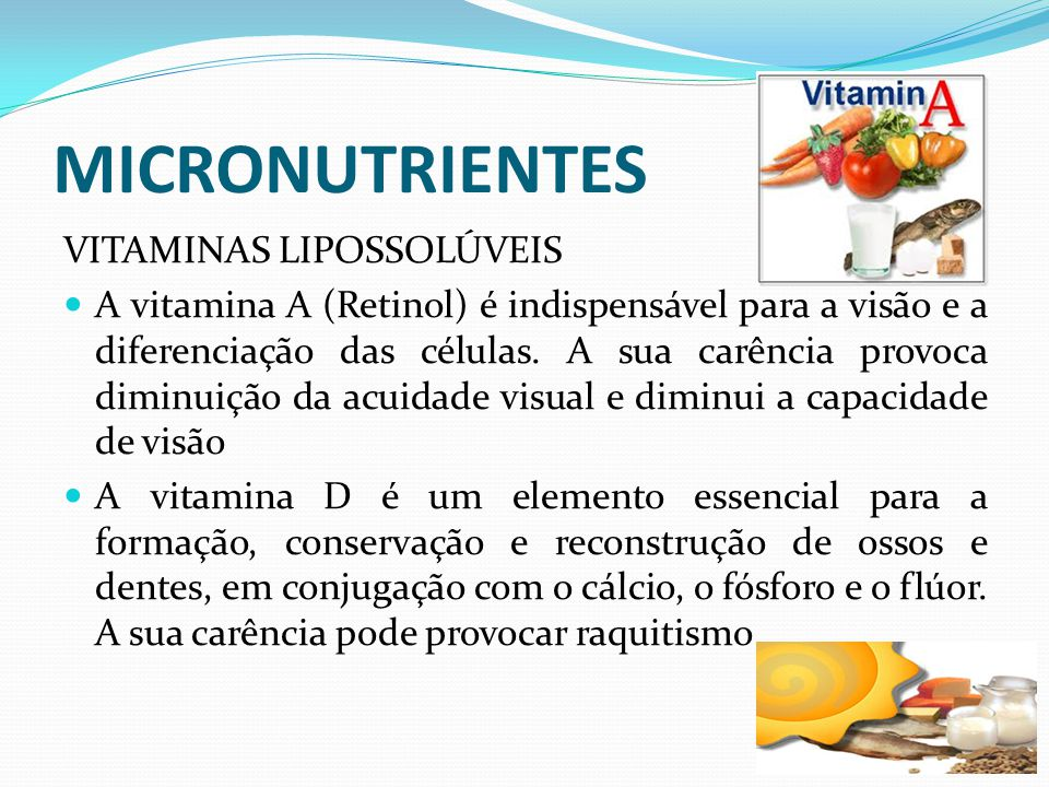 MICRONUTRIENTES VITAMINAS LIPOSSOLÚVEIS