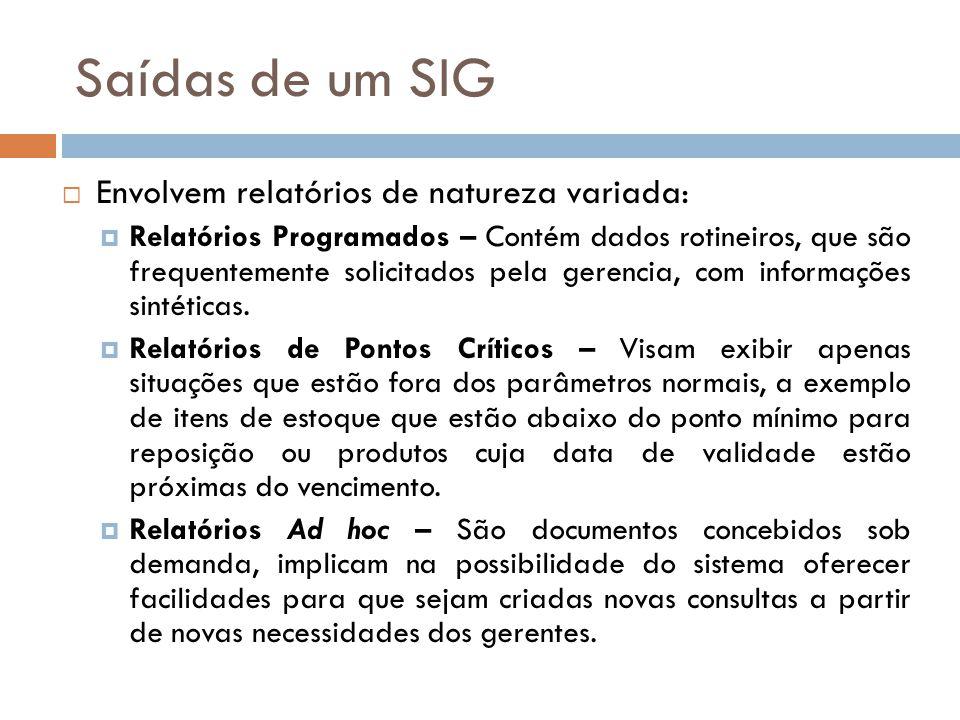 Saídas de um SIG Envolvem relatórios de natureza variada: