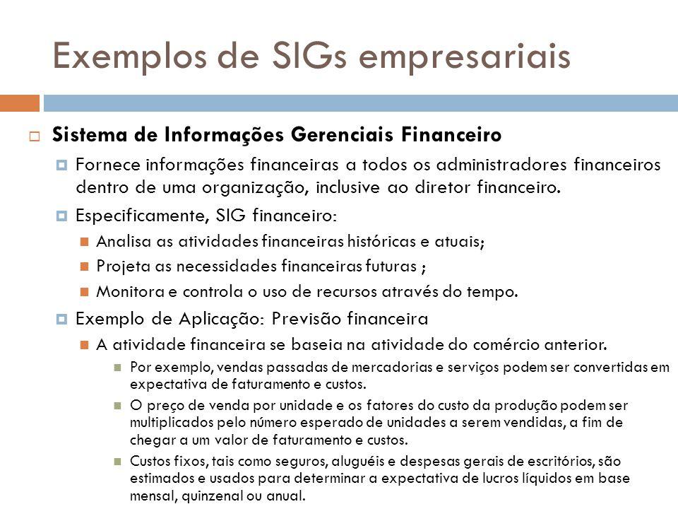 Exemplos de SIGs empresariais
