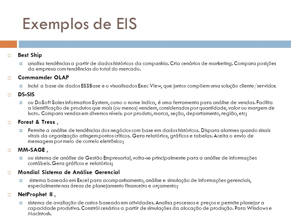 Exemplos de EIS Best Ship Commamder OLAP DS-SIS Forest & Tress ,