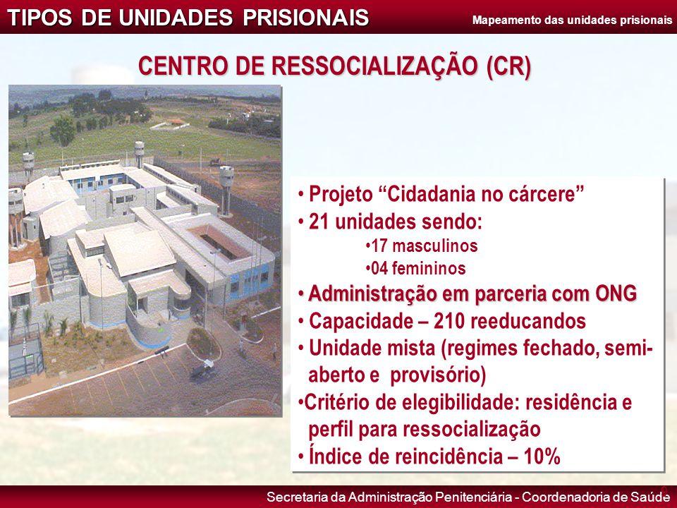 Mapeamento das unidades prisionais CENTRO DE RESSOCIALIZAÇÃO (CR)