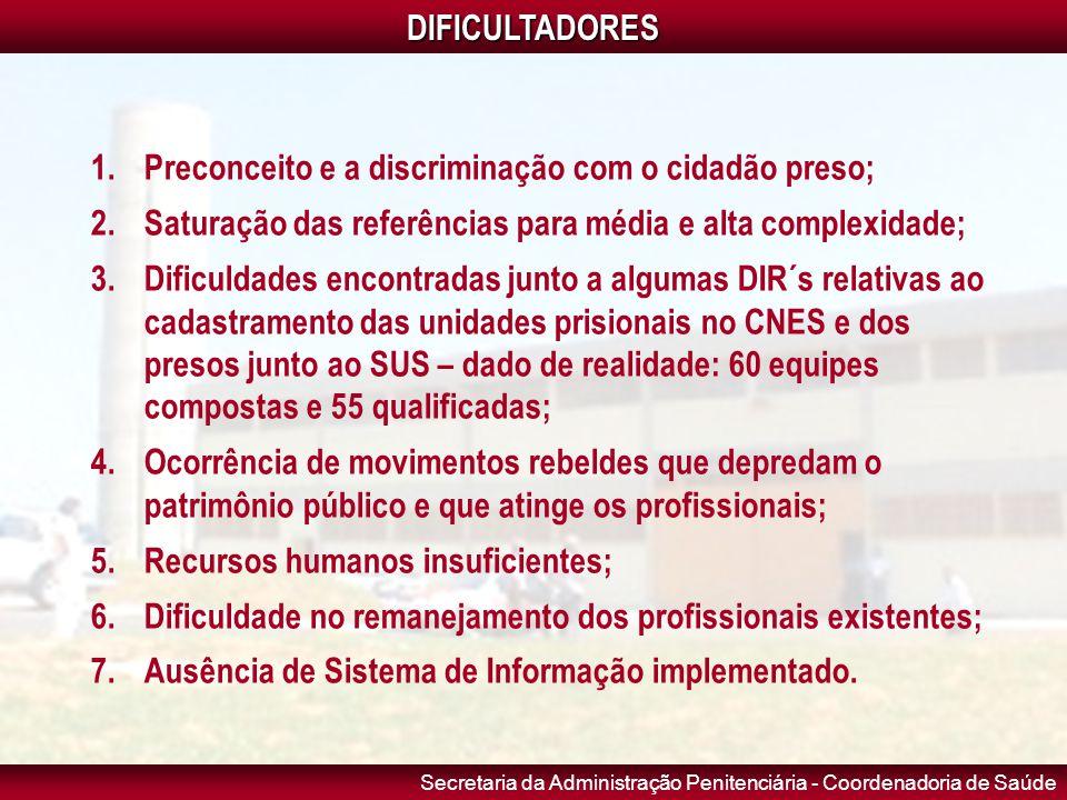 DIFICULTADORES Preconceito e a discriminação com o cidadão preso; Saturação das referências para média e alta complexidade;